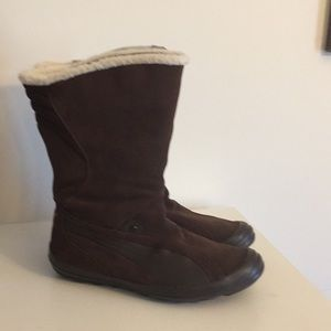 "NWOT Puma brown suede 10""tall boots Sz 9 1/2"